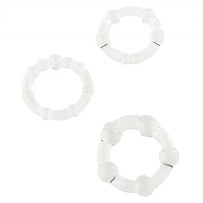 Stay Hard Cock Rings - Sada erekčních kroužků Transparentní 3ks