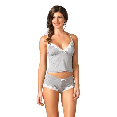 Leg Avenue Seraphina Jersey Cami & Short Set SE8861 Bílo-šedá