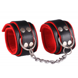 Dominate Me Leather Handcuffs D11 Black-Red