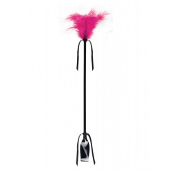 Secret Play Duster and Riding Crop Black-Fuchsia