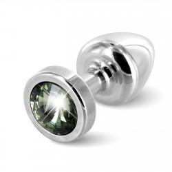 Diogol Anni Round 25mm - Anální šperk Stříbrný s černým krystalem