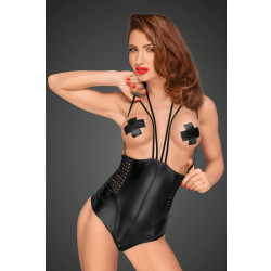 Noir Handmade F179 Powerwetlook Body with Velvet Multistraps and Chequered Tape Inserts
