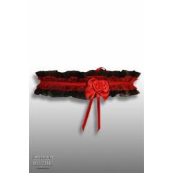 Demoniq Krajkový podvazek s růžičkou Černá