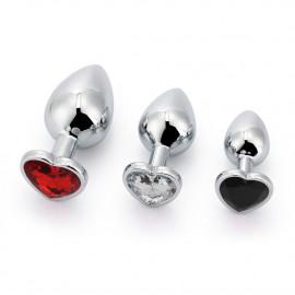 Black Label 3 Size Alu Plug Set with Colored Heart Shaped Stone