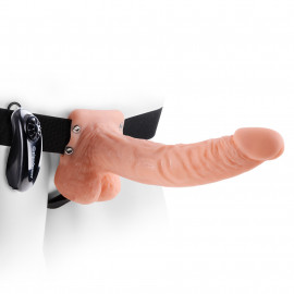 "Fetish Fantasy 9"" Vibrating Hollow Strap-On with Balls Flesh"
