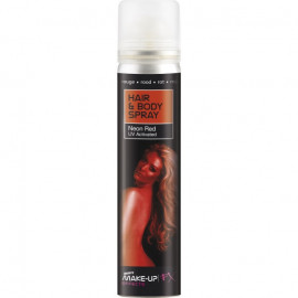 Smiffys Hair & Body Spray Neon Red UV Activated 75ml