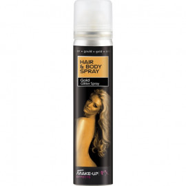 Smiffys Hair & Body Spray Gold Glitter Spray 75ml