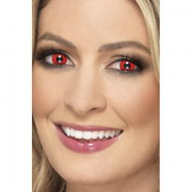 Smiffys Accessoreyes Devil Red - Kontaktní čočky Červená 2 čočky