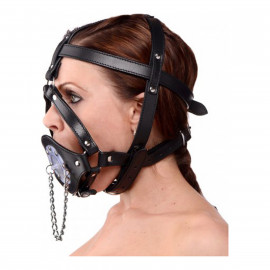 Master Series Plug It Up Leather Head Harness with Mouth Gag