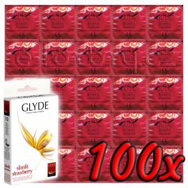 Glyde Slimfit Strawberry - Premium Vegan Condoms 100 pack