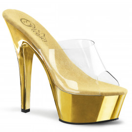 Pleaser Kiss-201 - Dámske sexy nazouváky Zlatá