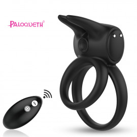 Paloqueth Vibrating Double Penis Ring with Remote Black