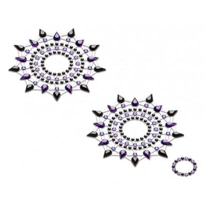 Petits JouJoux Crystal Sticker Breast Jewelry Set of 2 Black and Purple