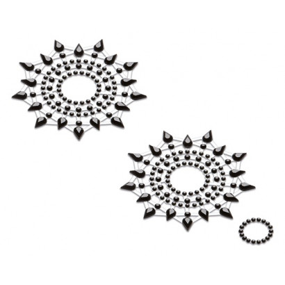 Petits JouJoux Crystal Sticker Breast Jewelry Set of 2 Black
