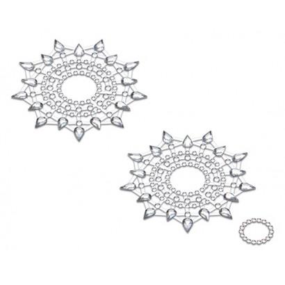 Petits JouJoux Crystal Sticker Breast Jewelry Set of 2 Silver Metalic