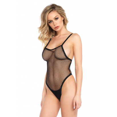 Leg Avenue Fishnet Side Boob Teddy 81554 Black