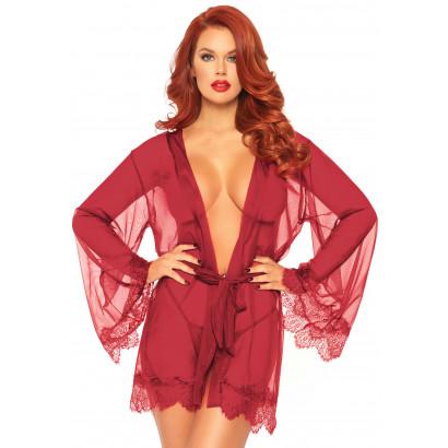 Leg Avenue Sheer Robe with Flared Sleeves 86107 Burgundy