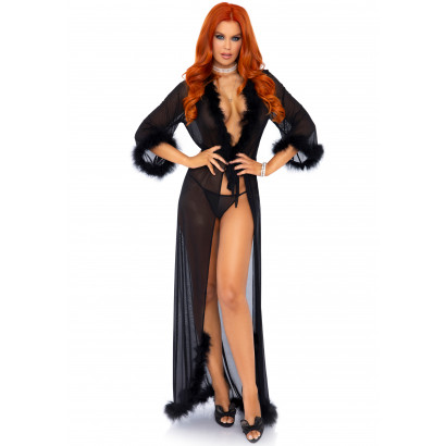 Leg Avenue Marabou Trimmed Robe & String Panty 86111 Black