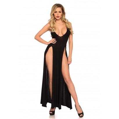 Leg Avenue Deep-V Dual Slit Maxi Dress 88017 Black