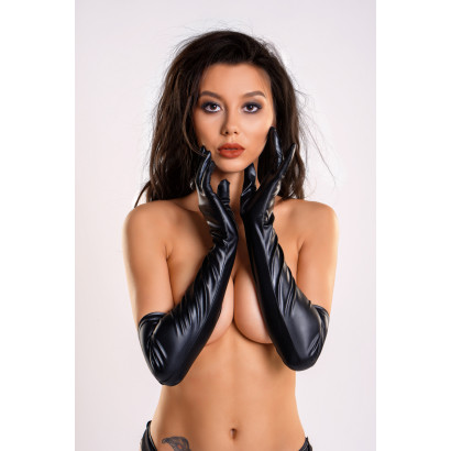 Glossy Long Wetlook Gloves