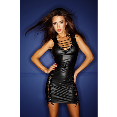 Noir Handmade F079 Wetlook Dress with Lacing