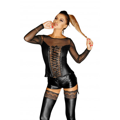 Noir Handmade F130 Powerwetlook Corsage Top with Long Sleeves, Lacing and Tull Inserts Narcissist
