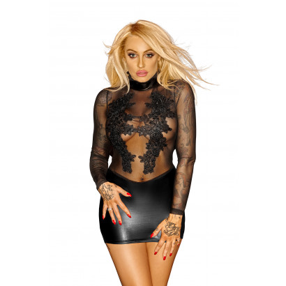 Noir Handmade F142 Powerwetlook with Tulle Minidress with Applications Vip