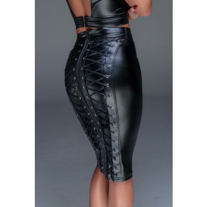 Noir Handmade F152 Powerwetlook Pencil Skirt with Long Zipper