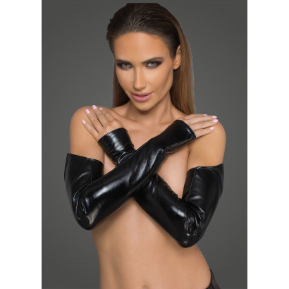 Noir Handmade F197 Lacquered Eco Leather and Powerwetlook Gloves