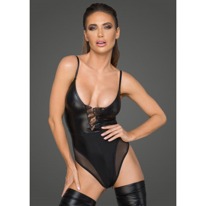 Noir Handmade F206 Women's Powerwetlook Body with Tulle Inserts