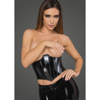 Noir Handmade F211 Women's Lacquered Eco Leather Corset Wit Fishbones