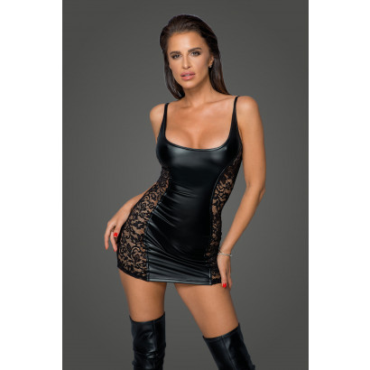 Noir Handmade F229 Powerwetlook Dress with Lace Inserts