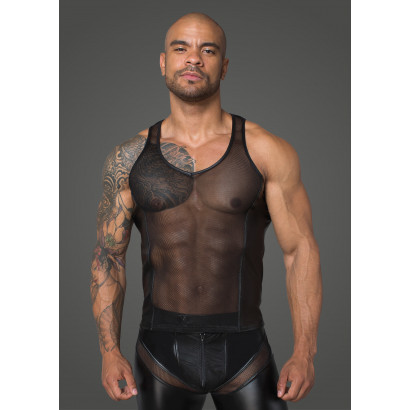 Noir Handmade H057 Men's 3D Net Tank Top with Powerwetlook Inserts