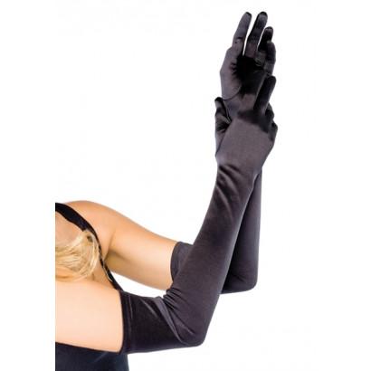 Leg Avenue Extra Long Satin Gloves 16B - Saténové rukavičky Černá