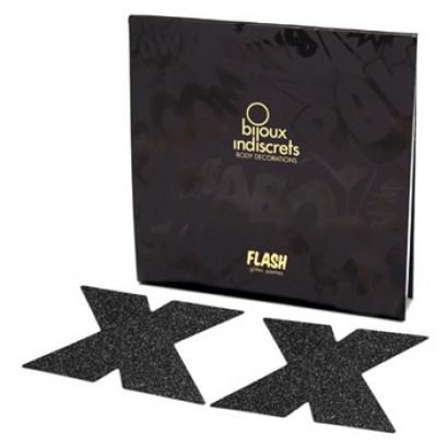 Bijoux Indiscrets Flash Cross Černá - ozdoby na bradavky