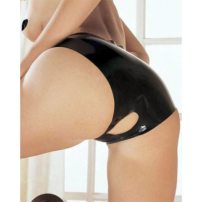 Sharon Sloane Latex Open Crotch Panties - Latexové kalhotky s otvorem v rozkroku Černá
