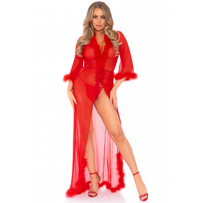 Leg Avenue Marabou Trimmed Robe & String Panty 86111 Red