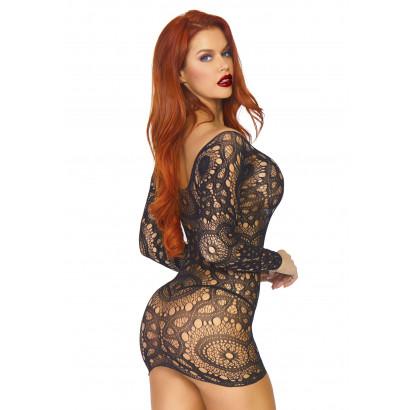 Leg Avenue Lace Long Sleeved Mini Dress 86794 Black