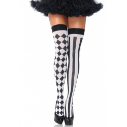 Leg Avenue Harlequin Thigh Highs 6120 Black & White