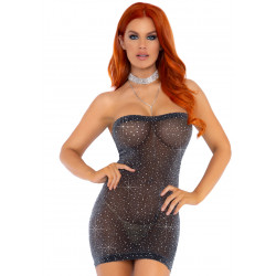 Leg Avenue Lurex Rhinestone Tube Dress 86151 Black & Silver
