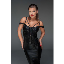 Noir Handmade F159 Corset with Lace and Powerwetlook with Detachable Straps