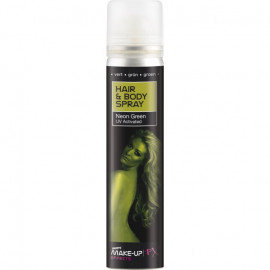 Smiffys Hair & Body Spray Neon Green UV Activated 75ml