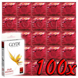 Glyde Slimfit Strawberry - Premium Vegan Condoms 100 pack