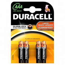 Battery Alkaline Duracell AAA 4 pack