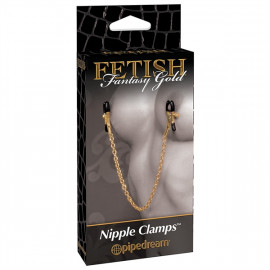 Fetish Fantasy Gold Chain Nipple Clamps - Golden Nipple Clamps with Chain