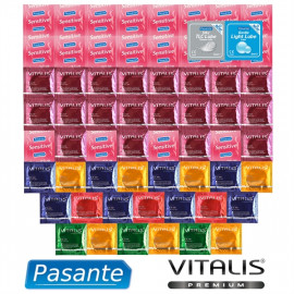 Promo Package extra tenkých Condoms - 61 Pasante Condoms and Vitalis Premium + Lubricating Gels Pasante As a Gift