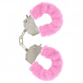 Toyjoy Furry Fun Cuffs - Plush Pink Metal Handcuffs