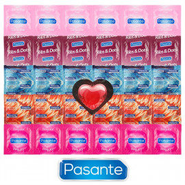 Pasante Mix for Every Occasion - 30 Condoms Pasante + Heart Shaped Condom As a Gift
