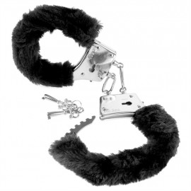 Fetish Fantasy Beginner's Furry Cuffs - Plush Black Metal Handcuffs