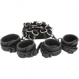 Fetish Submissive Luxury Multi-Function Bed Binding Set with Adjustable Rings Vegan Leather